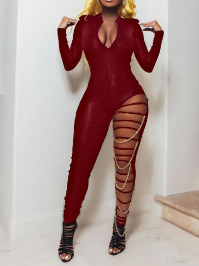 Red Patchwork Chain Irregular One Piece Clubwear Long Jumpsuit