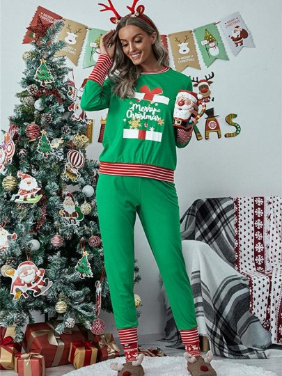 Green Striped Floral Two Piece Christmas Round Neck Long Loungewear Pajama
