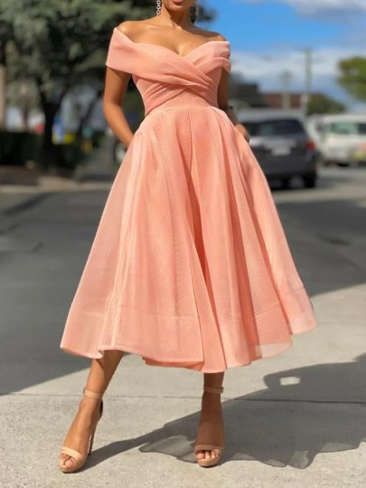Pink Patchwork Grenadine Ruffle Tulle Boat Neck Sweet Maxi Dress