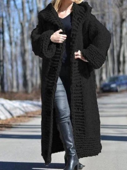 Black Patchwork Buttons Ruffle Cardigan?Comfy Hooded Going out Sweater
