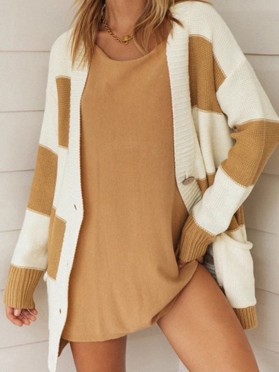 Cardigan poches rayées boutons confortable col en V mode marron