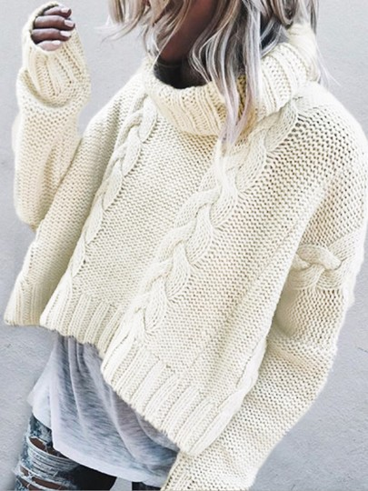 White Patchwork Ruffle Trendy High Neck Fashion Pullover Sweater