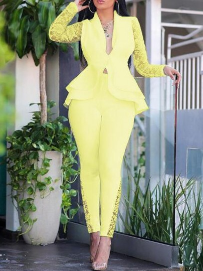 Yellow Patchwork Lace 2-in-1 Trendy V-neck Going out Suit