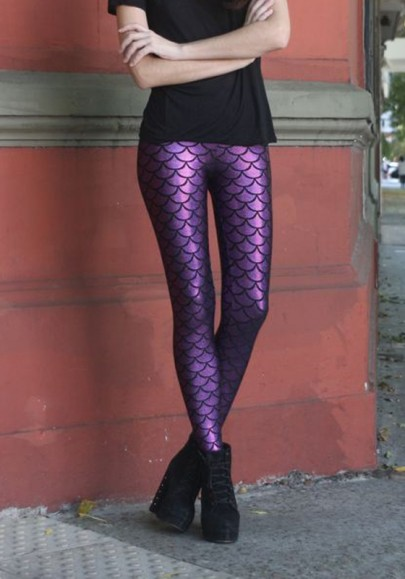 Purple Floral Scale Print Elastic Waist High Waisted Casual Legging