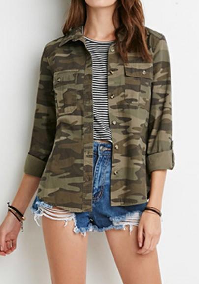 Armee Grün Camouflage Einreiher Knöpfe Taschen Langarm Jacke Damen Mode