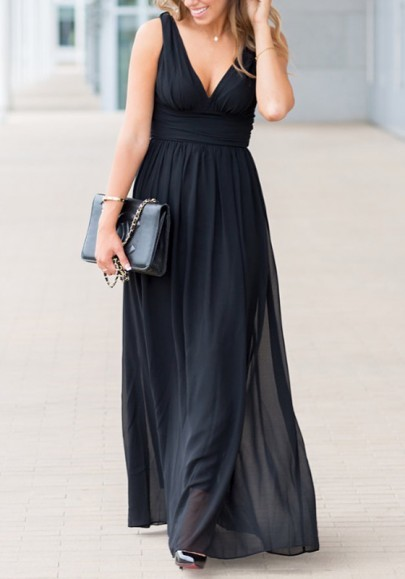 Black Zipper Double-deck Pleated Epaulet Backless Formal Bridesmaid Cocktail Party Porm Maxi Dress
