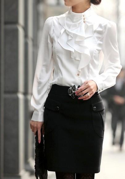 Weiß Rüschen Stehkragen Knöpfen Volants Elegant Oberteile Top OL Bluse Damen Mode
