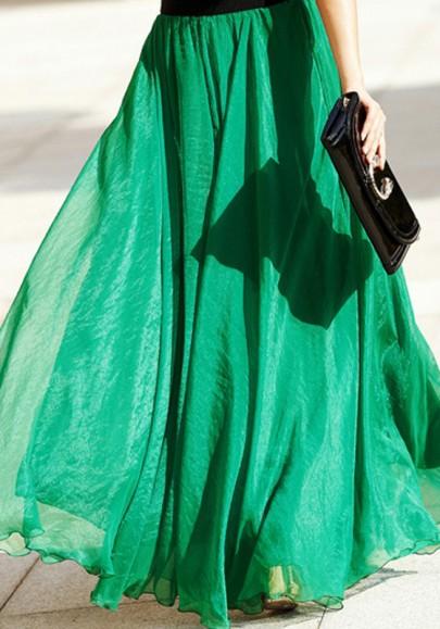 Gonna puro bordo ondulato drappeggiato chiffon della boemia verde smeraldo