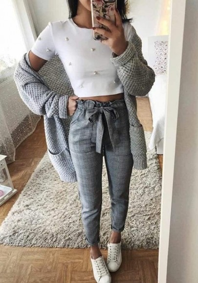 Grey Plaid Print Drawstring Waist Casual Long Pants