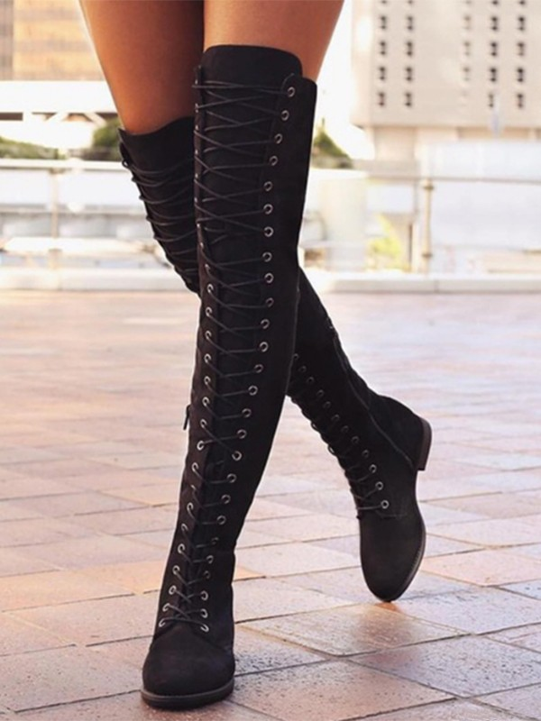 Black Round Toe Lace up Over The Knee