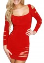 Women's Red Hollow-out Scoop Neck Long Sleeve Bodycon Sexy Club Dress