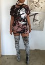 Distressed Tupa Rock And Roll Print Hollow-out Ripped Round Neck Tee Dress