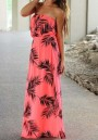 Red Floral Bandeau Draped Boat Neck Sleeveless Loose Maxi Dress