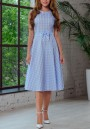 Light Blue Plaid Bow Pleated A-Line Sweet Elegant Party Midi Dress