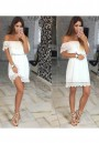 White Patchwork Lace Cut Out Boat Neck Sweet Mini Dress