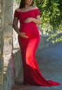 Red Off Shoulder Mermaid Bodycon Maternity For Babyshower Elegant Party Maxi Dress