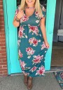 Green Floral Pleated Plus Size Beach Party Bohemian Maxi Dress