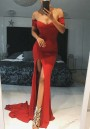 Red Draped Thigh High Side Slits Off Shoulder Backless Formal Elegant Party Maxi Dress