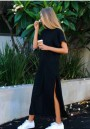 Black Plain Side Slit Short Sleeve Round Neck Outdoors Maxi Dress