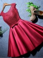 Red Patchwork Bow Lace Round Neck Party Midi Dress