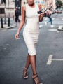 White Cut Out Backless Lace-up Booty Ruched Bodycon Trendy Midi Dress