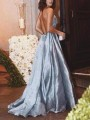 Light Blue Patchwork Sequin Deep V-neck Spaghetti Strap Elegant Wedding Gowns Maxi Dress