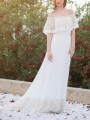 White Patchwork Lace Off Shoulder Pleated With Train Elegant Prom Evening Party Maxi Dress
