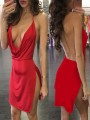 Red Side Slit Spaghetti Strap Plunging Neckline Bodycon Clubwear Party Mini Dress
