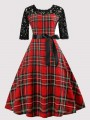 Red Plaid Lace Bow Draped Round Neck Vintage Midi Dress
