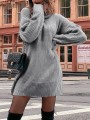 Grey Draped High Neck Long Sleeve Casual Mini Dress