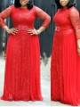 Red Patchwork Lace Bright Wire Pleated Long Sleeve Sparkly Glitter Party Maxi Dress