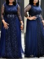 Navy Blue Patchwork Lace Bright Wire Pleated Long Sleeve Sparkly Glitter Party Maxi Dress