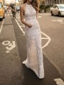 White Patchwork Lace Halter Neck Backless Mermaid Prom Evening Party Maxi Dress