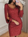 Date Red Patchwork Sequin Tassel V-neck Long Sleeve Sparkly Glitter New Year's Eve Party Mini Dress