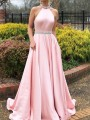 Pink Rhinestone Pleated Halter Neck Backless Wedding Gowns Party Maxi Dress