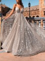 Silver Patchwork Grenadine Condole Belt Draped Sequin Bright Wire Backless Plunging Neckline Sleeveless Elegant Maxi Dress