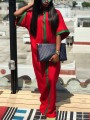 Red Striped Round Neck Casual Maxi Dress