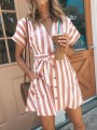 Pink White Striped Sashes Pockets Buttons V-neck Mini Dress