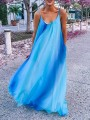 Light Blue Pockets Gradient Color Spaghetti Strap Backless Oversized Bohemian Maxi Dress