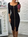 Black Zipper Square Neck 3/4 Sleeve Bodycon Elegant Midi Dress