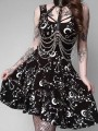 Black Starry Sky Print Pleated Witch Gothic Homecoming Party Mini Dress