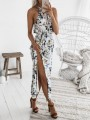 Light Blue Floral Print Sashes Thigh High Side Slits Halter Neck Spaghetti Strap Bohemian Maxi Dress
