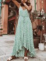 Green Polka Dot Irregular Ruffle Spaghetti Strap Backless Flowy Bohemian Maxi Dress