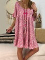 Pink Floral Print Drawstring Draped Pleated Ruffle Backless Round Neck Short Sleeve Bohemian Midi Dress