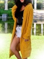 Yellow Patchwork Pockets Comfy Hooded Going out Cardigan?Sweater