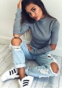 Grey Plain Cut Out High Neck Streetwear Cotton Pullover Sweater
