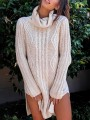Beige Side Slit High Neck Fashion Pullover Sweater