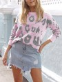 Pink Leopard Print Long Sleeve Round Neck Casual Cute Sweaters Pullover