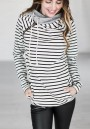 White Striped Drawstring Zipper Plus Size Long Sleeve Fashion Hooded Pullover Sweatshirt