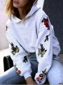 Grey Floral Flowers Round Neck Fashion Pullovers Hoodies Sweatshirt